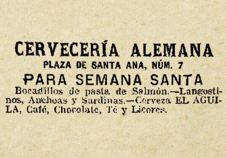 1905, EL PRIMER ANUNCIO DE LA ALEMANA