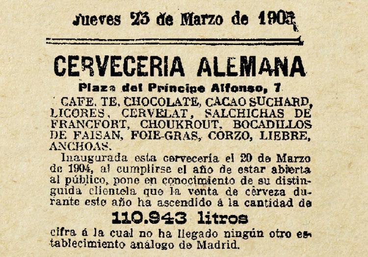 1905, OTRO ANUNCIO DE LA ALEMANA