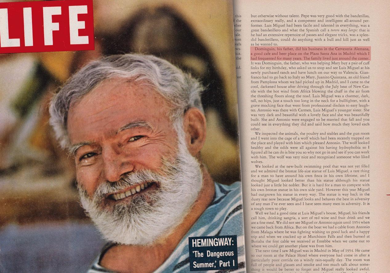 La huella de Hemingway en La Alemana