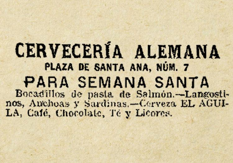 1905, FIRST ADVERSTIMENT OF LA ALEMANA